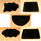 NEW PLAIN FLUFFY WASHABLE SOFT FAKE FAUX FUR BLACK COLOUR SHEEP SKIN RUGS