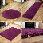 NEW MEDIUM THICK 5cm NON SHED PILE AUBERGINE SHAGGY BEST QUALITY RUGS for sale