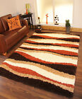 New Thick Soft Warm Terracotta Burnt Orange Cream Brown Small Large Shaggy Rug
