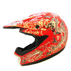 New Motocross Motorcross MX ATV Dirt Bike Helmet Dragon Red w/ Retractable Visor