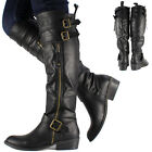 New Womens Ladies Black Knee High Leather Style Flat Low Heel Biker Riding Boots
