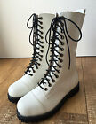14 Hole Punk Rock Engineer Biker Motorcycle Vegan Leather White Boots