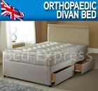 3FT 4FT6 DOUBLE 5FT KING 6FT QUILTED ORTHOPAEDIC DIVAN BED + QUILTED MATTRESS