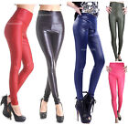 UK SHIP*Sexy LEATHER Wet LOOK HIGH WAIST Tight Stretch LEGGINGS/Treggings/Pants