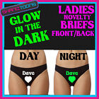 LADIES KNICKERS BRIEFS LOVE HEART DAVE FUNNY NOVELTY GLOW IN THE DARK ANY NAME
