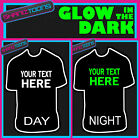 PERSONALISED GLOW IN THE DARK TSHIRT MUSIC FESTIVAL HOLIDAY RAVE OWN DESIGN