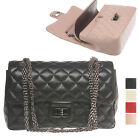 CELEBRITY DOUBLE FLAP NEW CHAIN SILVER QUILT SHOULDER BAG REAL LAMBSKIN LEATHER