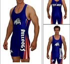 MASCOT WRESTLING SINGLET, BULLDOG SINGLET W/CUSTOM TEXT AREAS YOUR SCHOOL COLORS