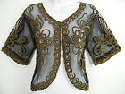 FAB BLACK AND GOLD LACY LACE SHRUG JACKET BRAND NEW SIZE 12 14 16 18 20 22