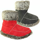 LADIES SLIPPER BOOTS WOMENS SLIPPERS WINTER WARM FUR BOOTIES SHOES 3 - 8 UK NEW