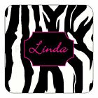 Personalised Animal Print Tiger Cow Zebra Leopard Name Wooden Coaster Xmas Gift