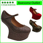 NEW LADIES MARY JANE WOMENS PLATFORM HIGH WEDGE HEEL-LESS PARTY SHOES SIZE3-8