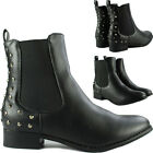 Womens Ladies Leather Style Flat Low Heel Stud Chelsea Biker Riding Ankle Boots