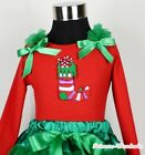 Xmas Christmas Sock Red Long Sleeve Pettitop Tank Top With Ruffle Bow NB-8Year