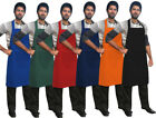 "Chef Bib Apron Cooking Kitchen Apron 26""x37"" Front Pocket Multi Colors"