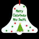 Personalised Bell School Teacher Christmas Tree Ornament Bauble Decoration Gift