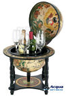 OLD WORLD WINE BAR w/ Solid Wood Holder & Table Stand & ANTIQUE ATLAS MAP