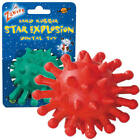 Zanies STAR EXPLOSION Dog Toy Hard Rubber Chew Clean Teeth Red Green