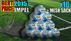 10x NEW 2015 MITRE IMPEL WHITE/BLUE TRAINING FOOTBALL + MESH BAG (32 PANEL BALL)