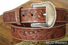 Nocona Western Mens Belt Leather Tooled Floral N2446008