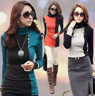 Korea Women Stitching Color Turtleneck Long Fitted Top Shirt Slim T-shirt 4838#