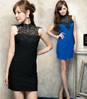 New Women Vintage Sleeveless See-Through Lace Tie Neck Backless Mini Dress 4982#