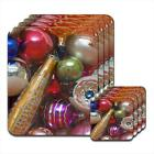 Glitter Sparkles Colour Christmas Tree Decorations Hardwood Coasters / Placemats