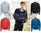 NEW COLLEGE - BASEBALL SWEATER JACKET - VARSITY STYLE LETTERMAN 5 COLOURS XS-XXL