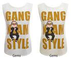 Womens Ladies Sleeveless Gang Nam Style Psy Dance Vest Tshirt Top Size 8-14