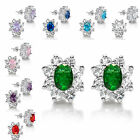Fashion Engagement 18K White Gold Plated Oval Pierced Stud Earrings