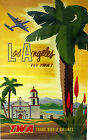 "Vintage Travel Art -Los Angeles  Fly TWA - 24""x36""  Print on Canvas"