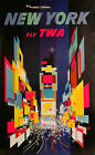 "Vintage Travel Art -New York Fly TWA - 24""x36""  Print on Canvas"