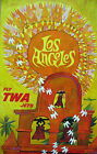 "Vintage Travel Art - Los Angeles Fly TWA Jets- 24""x36""  Print on Canvas"