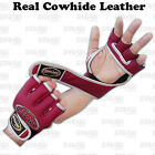 MMA Grappling Gloves Boxing Punch Bag Fight Cage Muay Thai Cowhide Leather Red