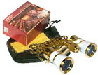 HQRP Opera Theater Binocular Glasses White pearl, Gold Trim with Necklace Chain