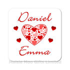 Personalised Names Love Hearts Wooden Gift Valentines Day Birthday Coaster