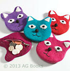 Purse Cat Zip Coin Fun Funky Red Purple Pink Girl Handmade Fabric Fair Trade New
