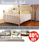 MONMOUTH Black or Ivory Metal Bed Frame 4FT6, Fantastic Value Quality Double Bed