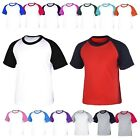 Cotton Short Sleeve Raglan Baseball Jersey TShirt Crewneck Vintage Casual Shirt
