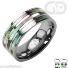 Solid Titanium Band With Triple Abalone Inlay Bridal Wedding Engagement Ring