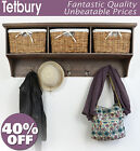 TETBURY Hallway Shelf with Coat Rack and Wicker Baskets, Bench Available BARGAIN
