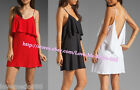 New women strap ruffle frill deep V neck open back club party casual mini Dress