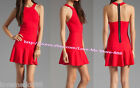 New women sexy Halter neck open back ruffle hem club party casual mini Dress