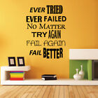TRY AGAIN encouraging quote wall stickers bedroom living room decals