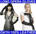 "New Women's 60cm(23.5"") 100% Real Leather Evening Gloves/Long Opera Black Gloves"