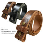Belt Strap Snap on Full Grain One Piece Leather Unisex Belt New Black Brown Tan