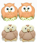 ADORABLE OWL STUD or CLIP ON EARRINGS ~ 2 STYLES