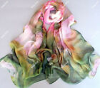 New Women's Fashion Georgette Long Wrap Shawl Beach Chiffon Scarf lotus flowers