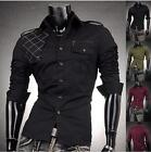 JS Mens Design Slim Dress Shirts Top Military Mesh Zip Stylish Casual~ US Seller
