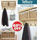 TETBURY Pine Hallway Shelf with Coat Rack, Wall Shelf with hooks,Bench Available
